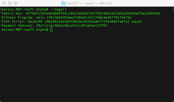Libbitcoin: Generating a Segwit Address